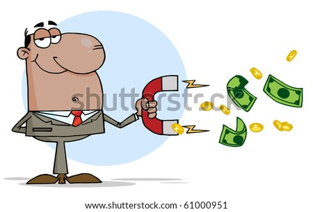 African American Businessman Using A Magnet To Attracts Money - stock vector