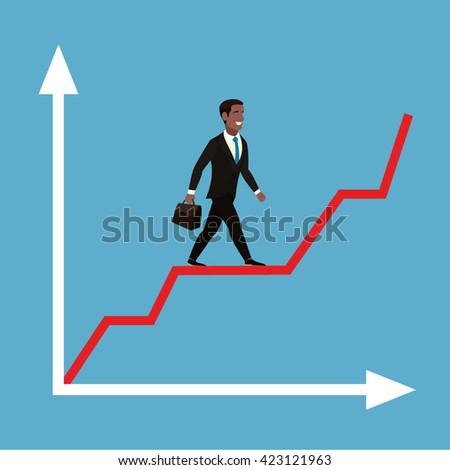 African American Businessman with briefcase in hand. - stock vector