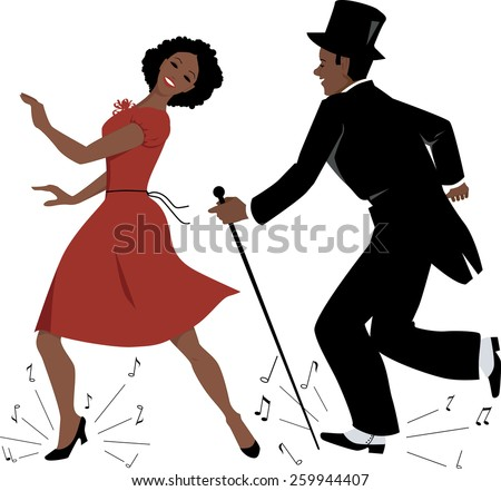 African-American couple dressed in retro style clothes dancing tap dance, music notes flying from under their feet, vector illustration, EPS 8 - stock vector