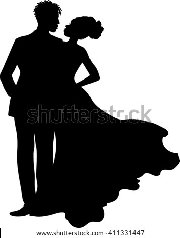 African American - Couple Silhouette - Vector Illustration - stock vector