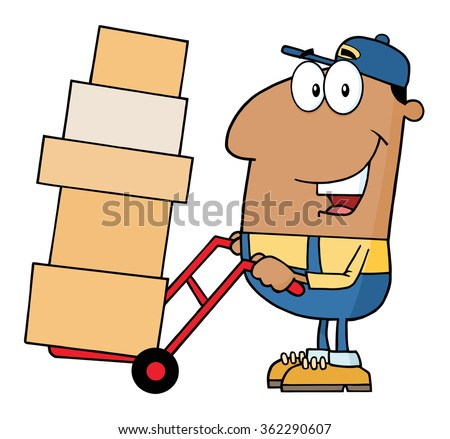 African American Delivery Man Cartoon Character Using A Dolly To Move Boxes. Vector Illustration With Isolated On White - stock vector