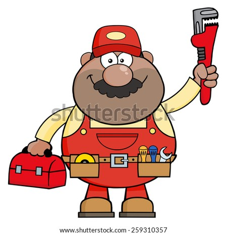 African American Mechanic Cartoon Character With Wrench And Tool Box. Vector Illustration Isolated On White - stock vector