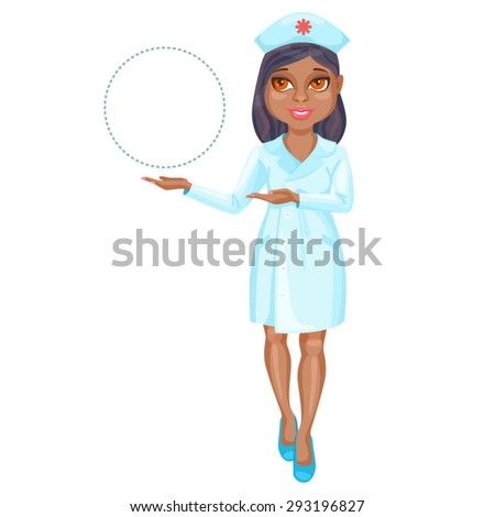 African American nurse pointing on something by her hands / There is an African American nurse wearing a pink suit. She stands straight and pointing by her both hands on something on the left  - stock vector
