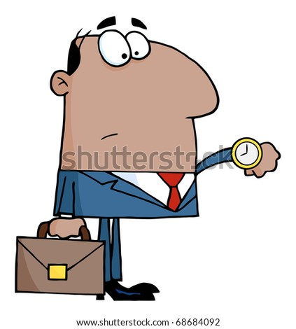 African American Office Worker Watching The Clock - stock vector
