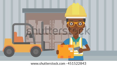 African-american warehouse worker scanning barcode on box. Warehouse worker checking barcode of box with a scanner. Woman in hard hat with scanner. Vector flat design illustration. Horizontal layout. - stock vector