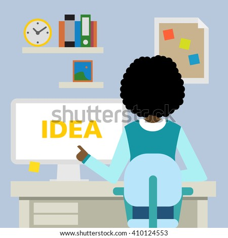 African american woman sitting in the office with idea. - stock vector