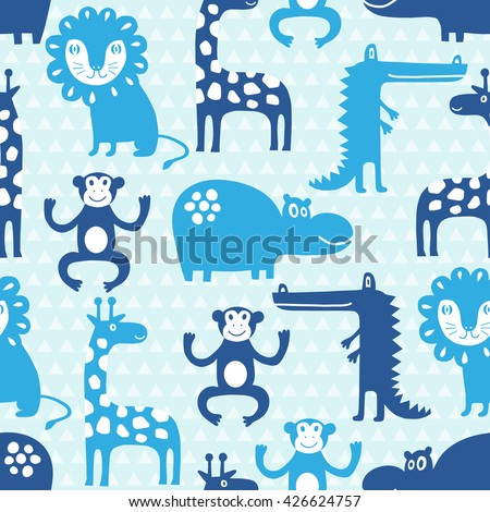 African animal seamless pattern. Background with monkey, lion, hippo, giraffe, crocodile. Surface decoration. - stock vector