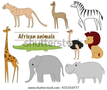 African animals: Cheetah, Gazelle, Zebra, giraffe, crocodile, elephant, hippopotamus, lion, ostrich - stock vector