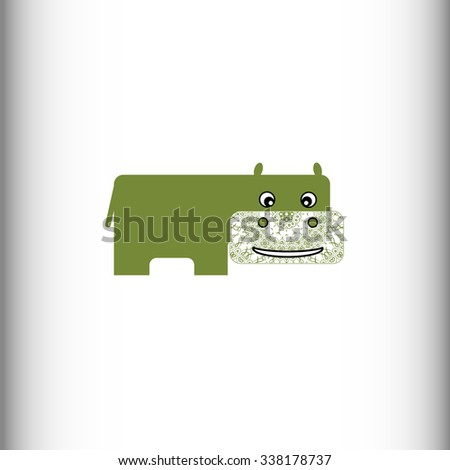African animals. Hippo / hippopotamus. Figure hippo with lace trim on a white background. Isolate. Vector drawing. - stock vector