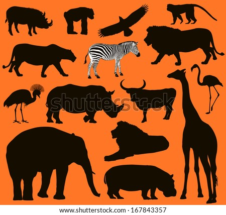 African animals silhouettes set. Vector illustration. EPS 10 - stock vector