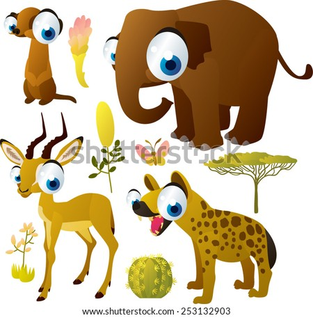 african animals vector cartoon set: meerkat, impala, hyena, elephant - stock vector