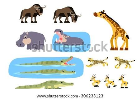 African animals vector containing girrafe, gazelle, gnu/wildebeest, crocodile, hippopotamus, and cheetah illustration. - stock vector
