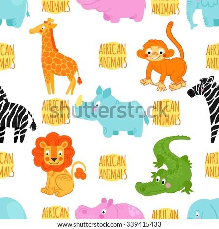 African animals vector seamless pattern: elephant, rhino, hippo,monkey; alligator; crocodile; giraffe; zebra. African animals background - stock vector