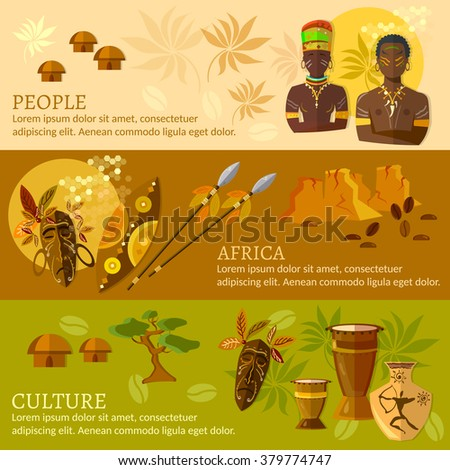 African banners Africa culture and traditions african tribes vector illustration - stock vector