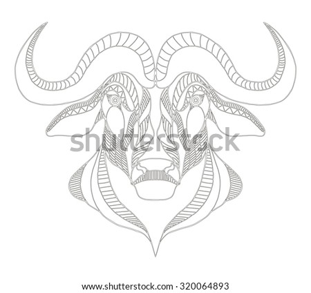 African buffalo head zentangle stylized, vector, illustration, freehand pencil, hand drawn, pattern. Print for t-shirts, mobile cover design. Lace pattern. - stock vector