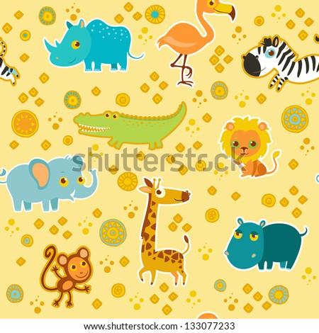 African cartoon animal vector seamless pattern. - stock vector