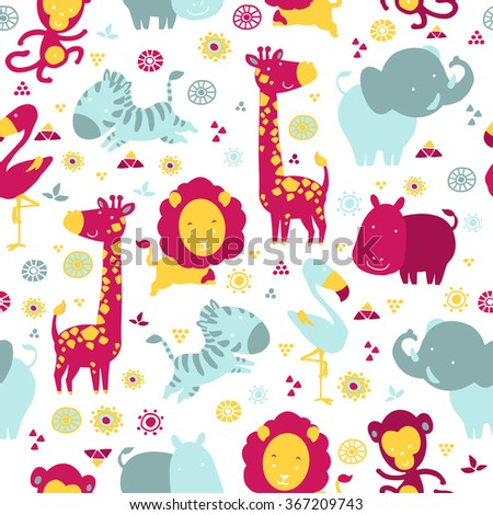 African cartoon animals. Vector seamless pattern. - stock vector