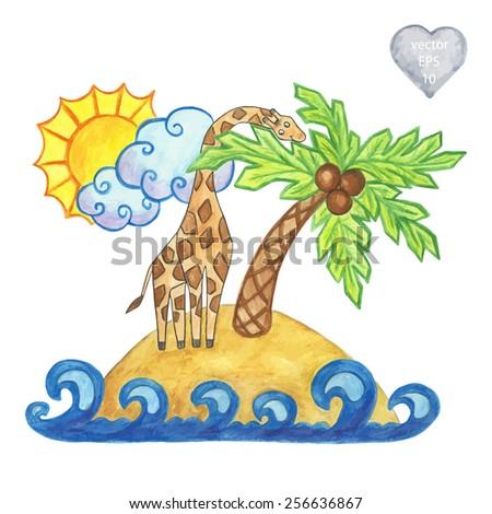 African cartoon landscape. Giraffe. Island. Palm tree. Watercolor painting handmade - vector - stock vector
