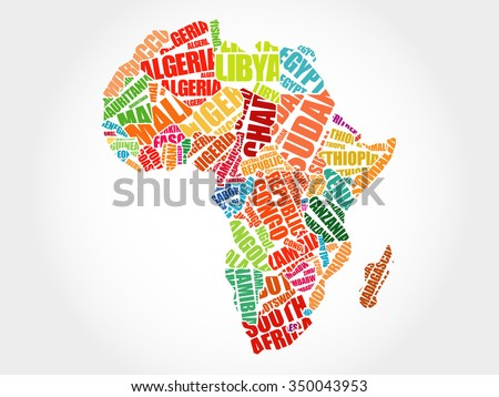 African countries Map in Typography word cloud concept - stock vector