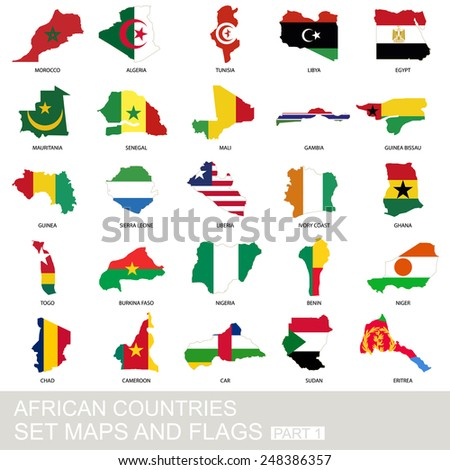 African countries set, maps and flags, part 1 - stock vector