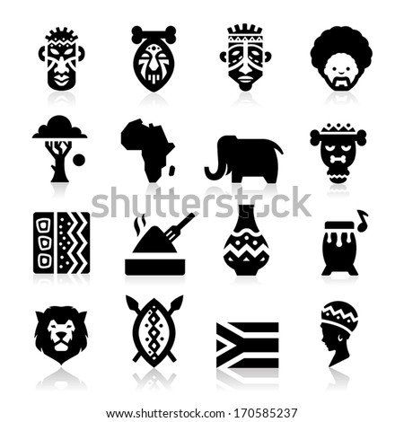 African Culture Icons  - stock vector