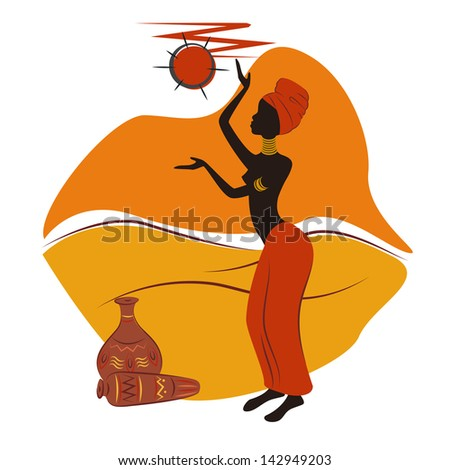 African design. Beautiful African American woman . Hand drawing illustration. - stock vector