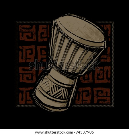 African Djembe Drum - stock vector