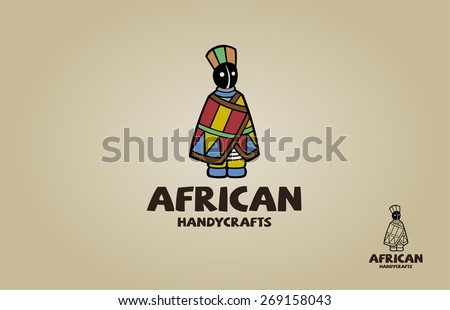 African doll in traditional dress souvenir. Vector logo illustration - stock vector