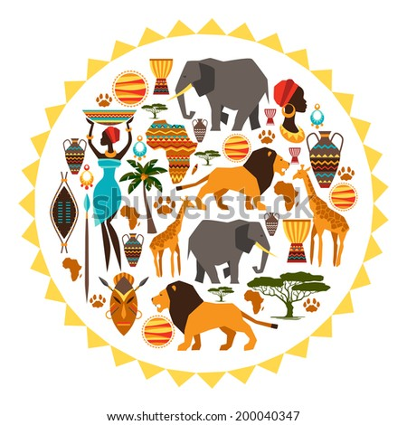 African ethnic background in shape of sun stylized icons. - stock vector