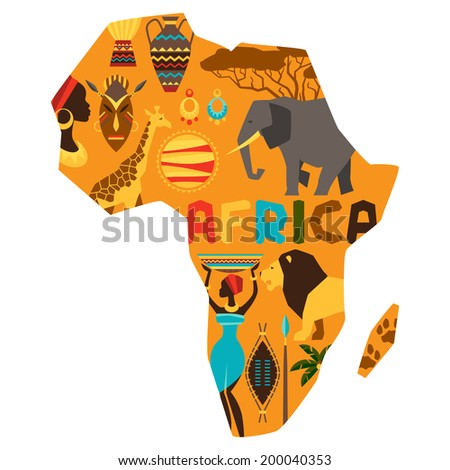 African ethnic background with illustration of map. - stock vector