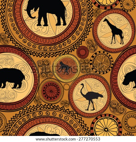 African ethnic seamless pattern. Abstract textured background with african animals. - stock vector