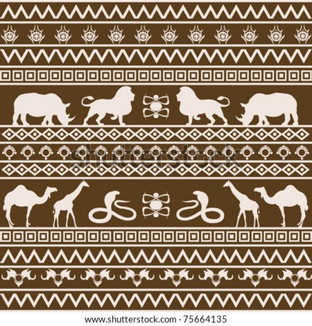 African ethnic texture with wild animals - stock vector