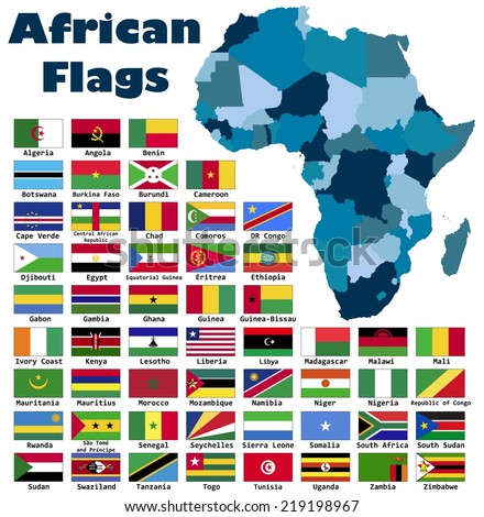 African flag set in alphabetical order, with an editable map. - stock vector