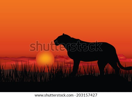 African landscape with animal silhouette. Savanna sunset background. - stock vector