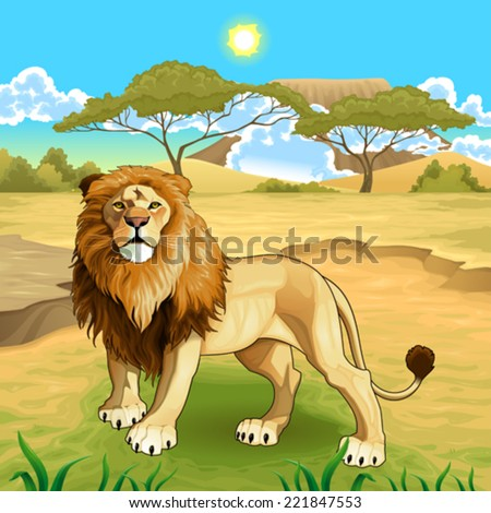 African landscape with lion king. Vector illustration.  - stock vector