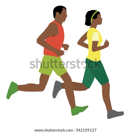 african man and woman running - stock vector