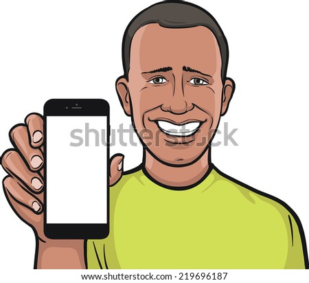 african man showing a mobile app on a smart phone - stock vector
