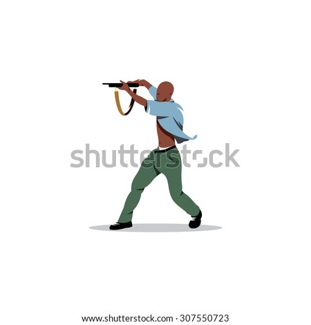 African man with gun. Street crime and a threat to society. Vector Illustration. Branding Identity Corporate logo design template Isolated on a white background - stock vector