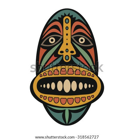 African mask on a white background - stock vector