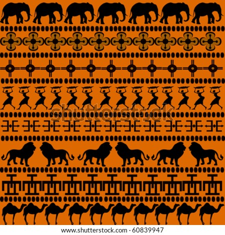 African motifs with African animals and women - stock vector