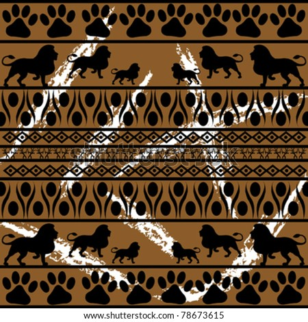 African pattern on abstract background - stock vector