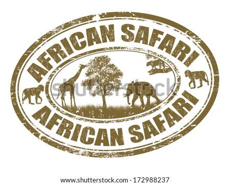 African safari grunge rubber stamp on white, vector illustration - stock vector