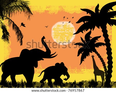 African safari theme with elephants and giraffe, against a grunge background, vector illustration - stock vector
