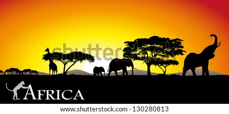 African savanna - stock vector