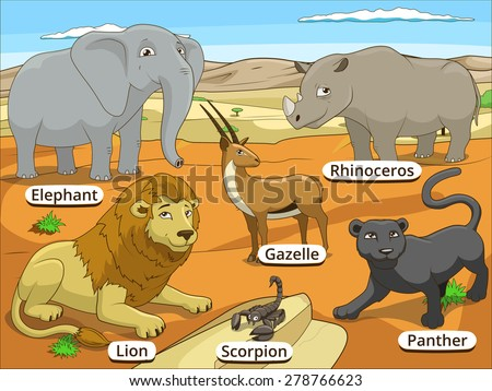 African savannah animals with names cartoon educational illustration - stock vector