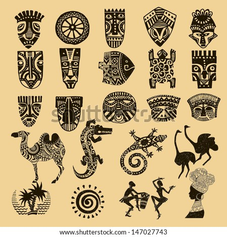 African Seth. African infographics Tribal set - stock vector
