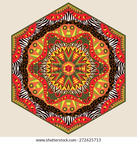 African six sides ornament. Isolated design element with tribal and wild animals skin patterns in vivid colors. Kaleidoscope mandala. Symmetric colorful ethnic geometric ornament. Vector file is EPS8. - stock vector