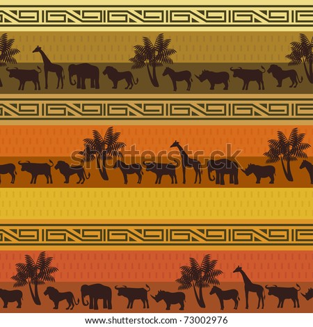 African style background with wild animals and abstract signs. - stock vector