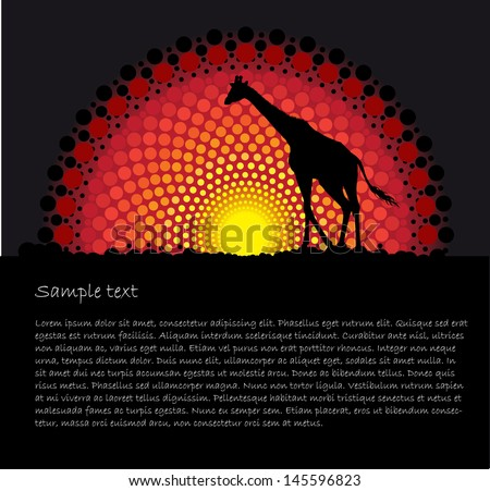 African tribal art vector background with a giraffe silhouette - stock vector