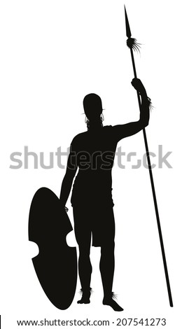 African tribal warrior with spear detailed vector silhouette. EPS 8 - stock vector
